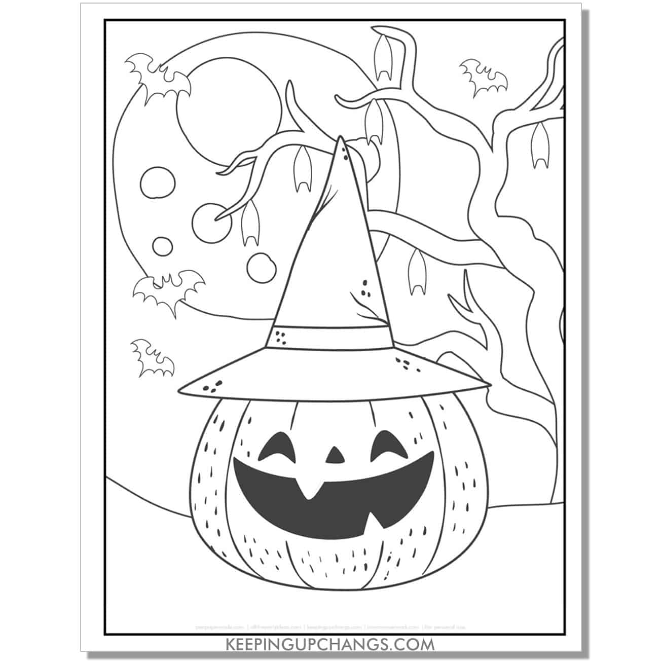 free cute halloween pumpkin in witch hat full size coloring page.