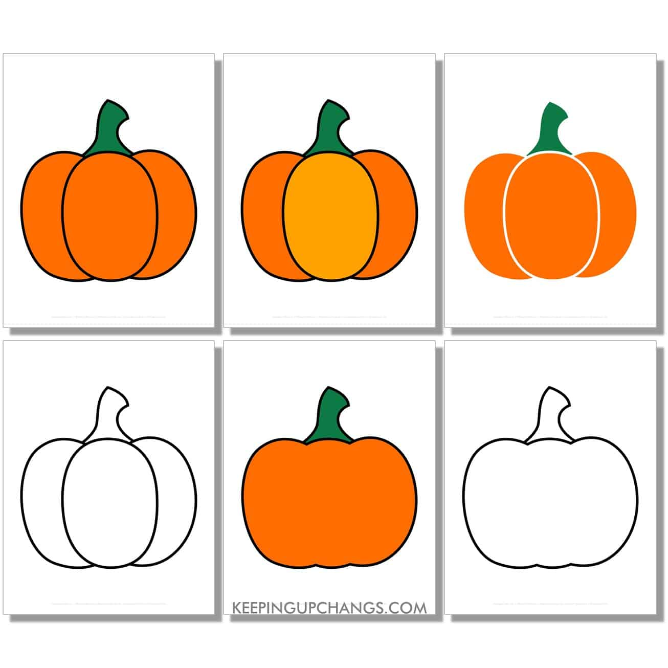 free large simple pumpkin in color, black and white, silhouette, full size page.