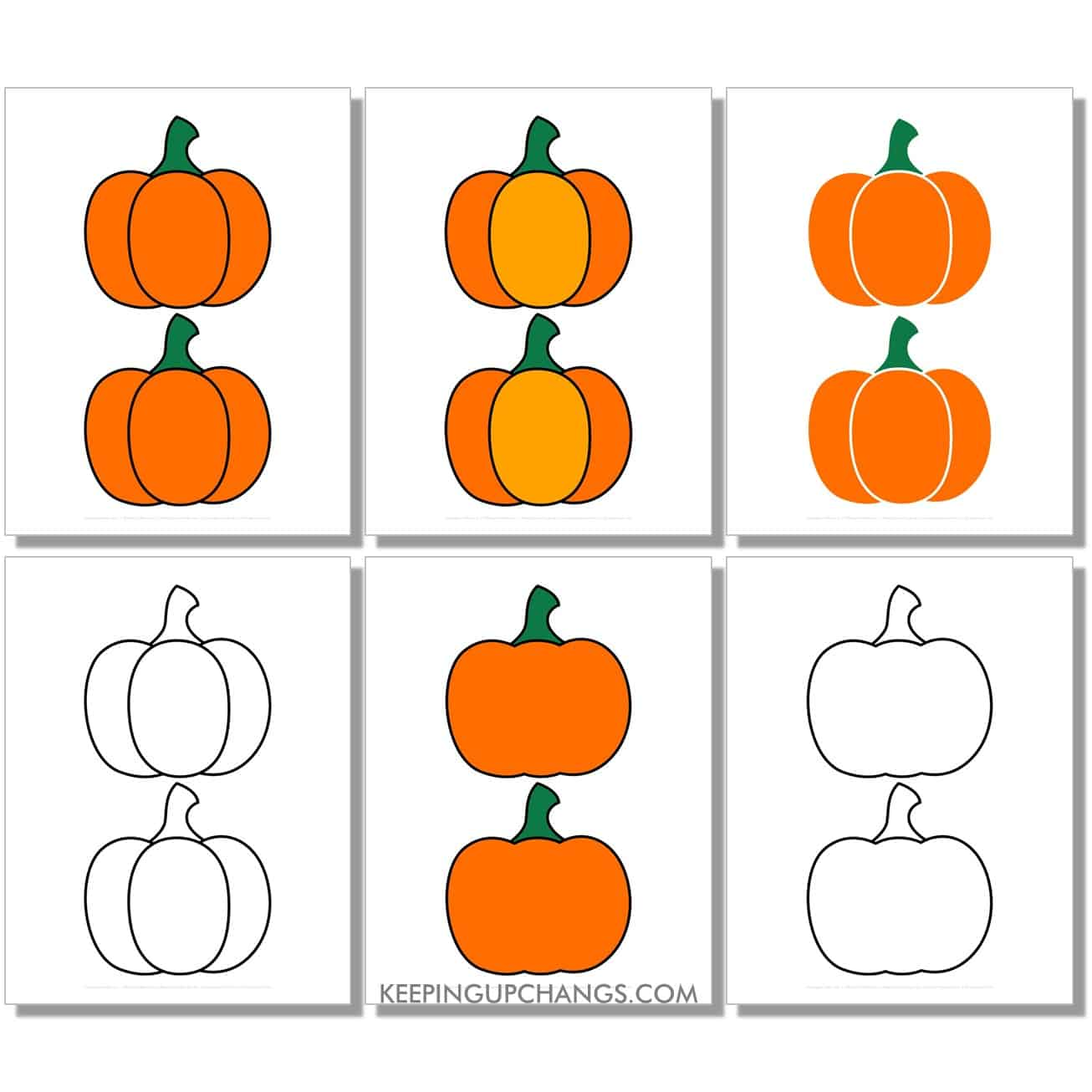free medium simple pumpkin in color, black and white, silhouette, 2 to a page.