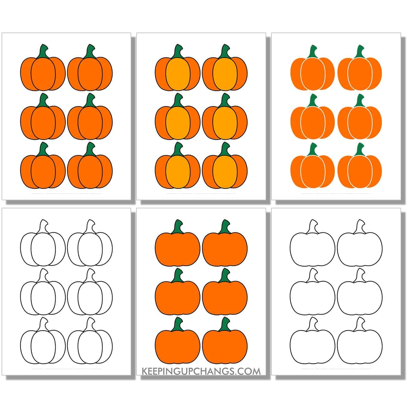 free mini simple pumpkin in color, black and white, silhouette, 6 to a page.