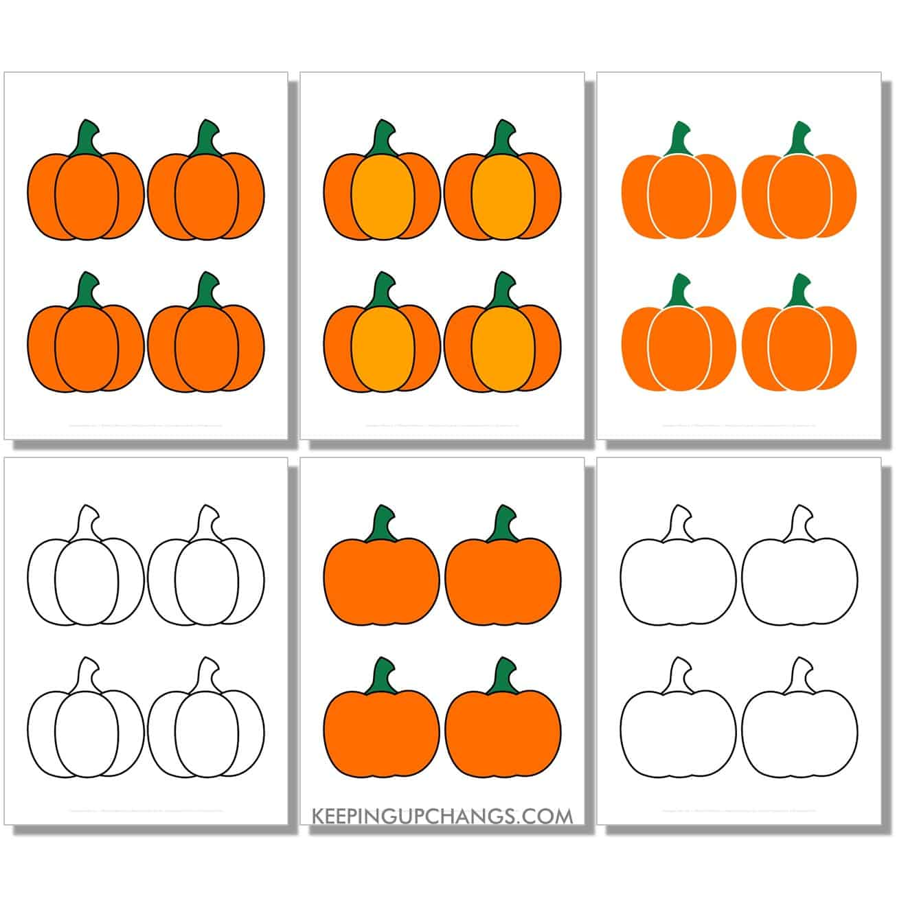free small simple pumpkin in color, black and white, silhouette, 4 to a page.