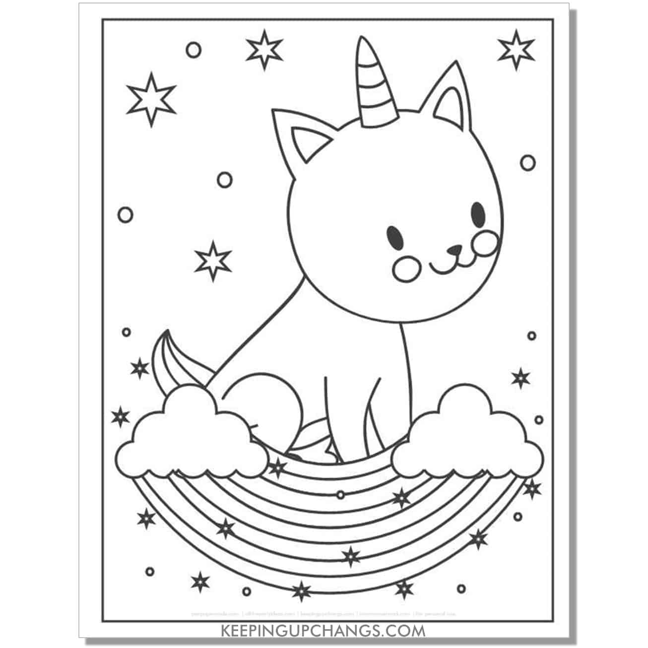 cat unicorn with stars in the night coloring page.