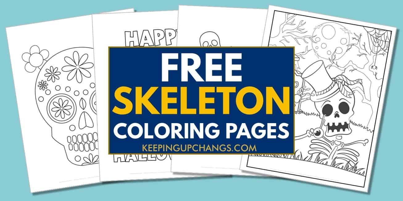spread of free skeleton coloring pages.