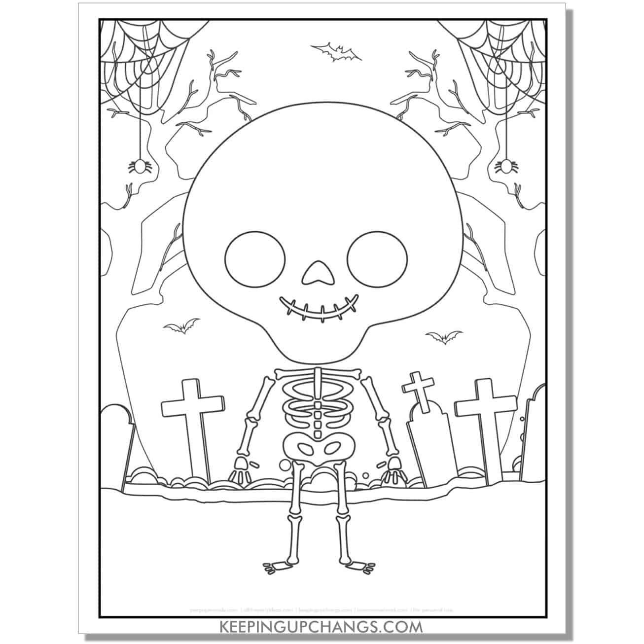 free kid skeleton full size halloween coloring page.