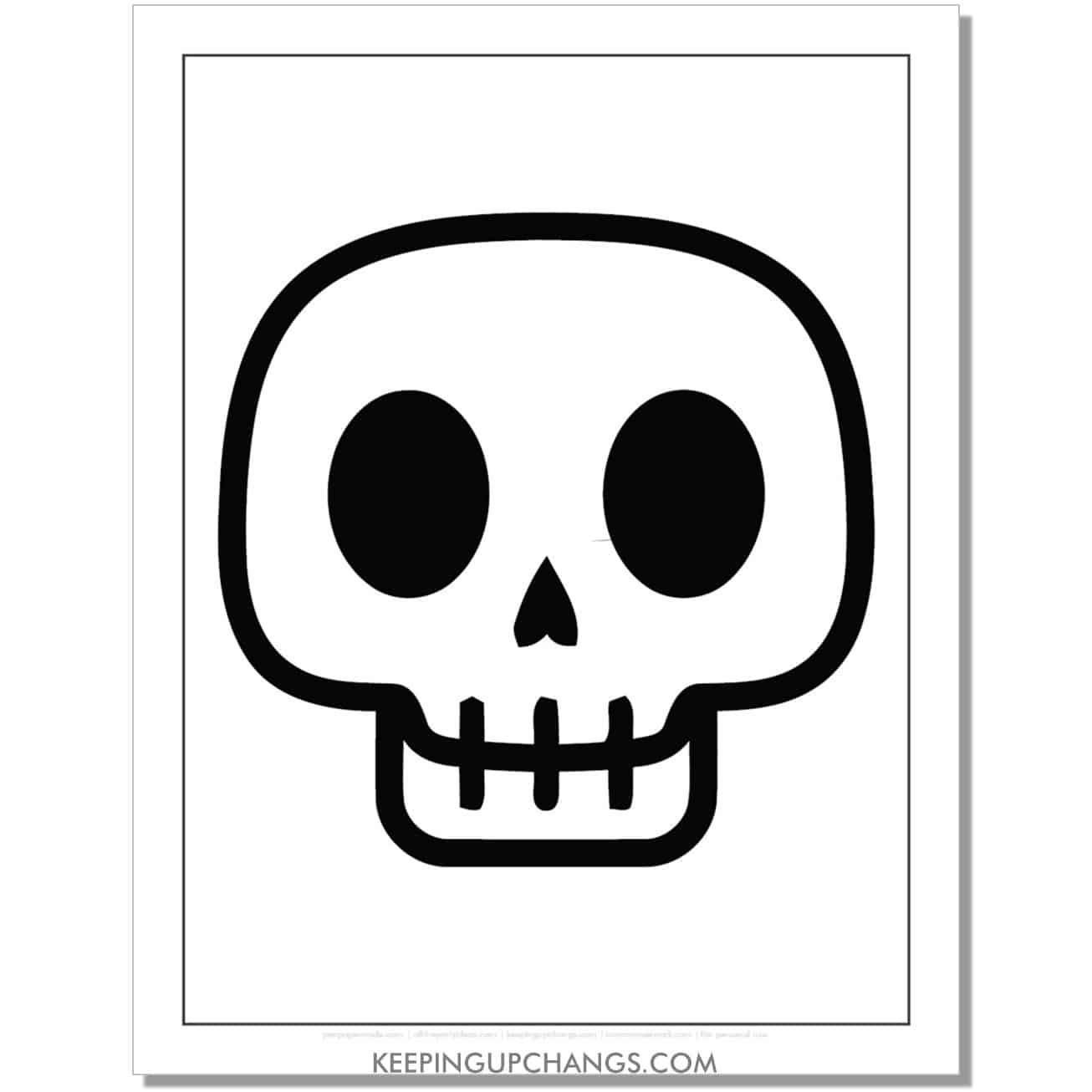 free skull emoji halloween coloring page for kids.