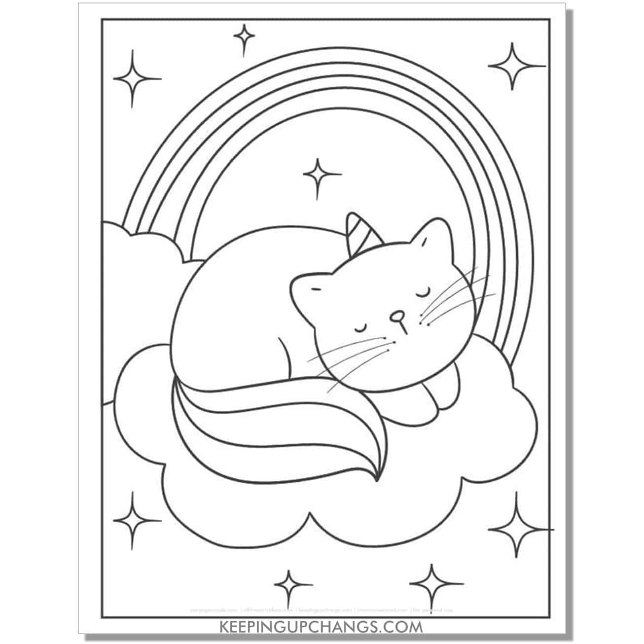 cute sleeping cat unicorn coloring page.