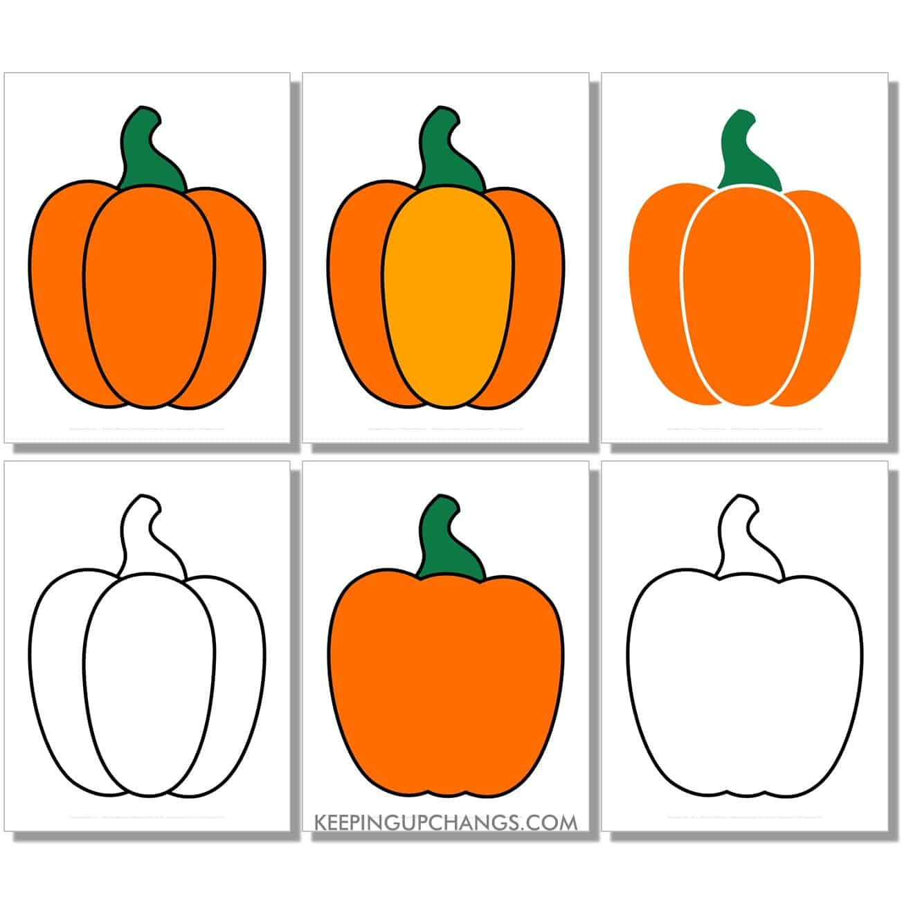 free large small pumpkin in color, black and white, silhouette, full size page.
