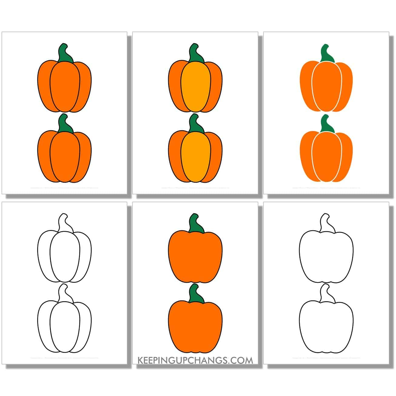 free medium small pumpkin in color, black and white, silhouette, 2 to a page.