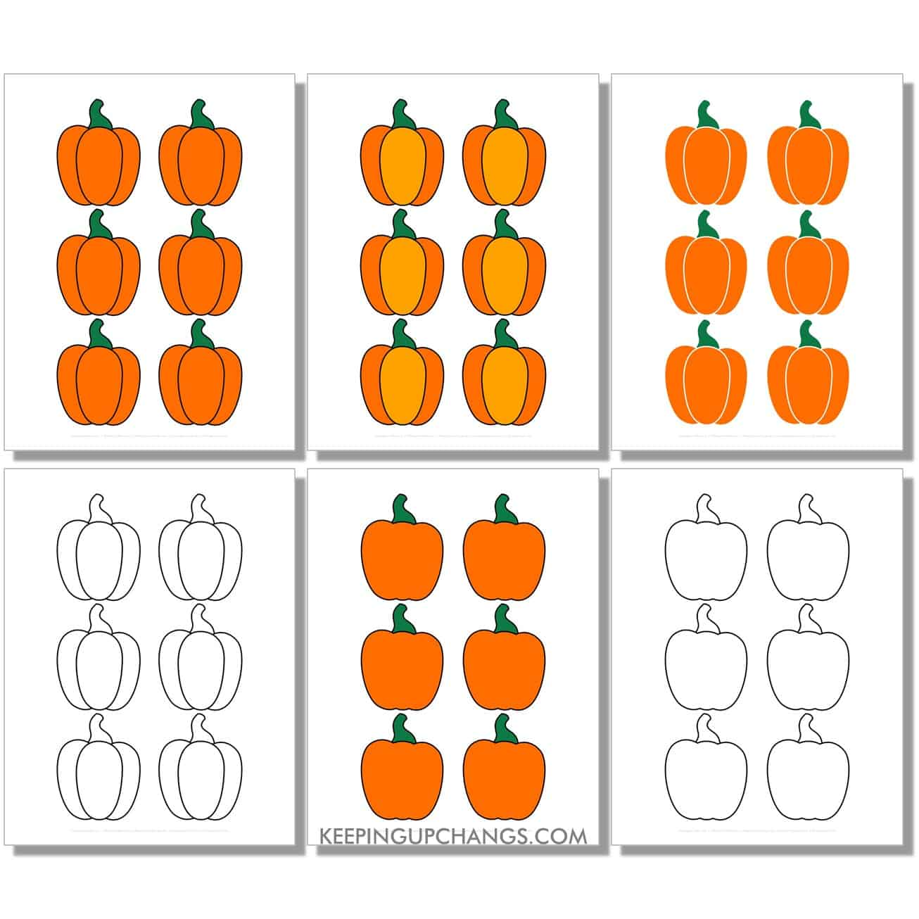 free mini small pumpkin in color, black and white, silhouette, 6 to a page.