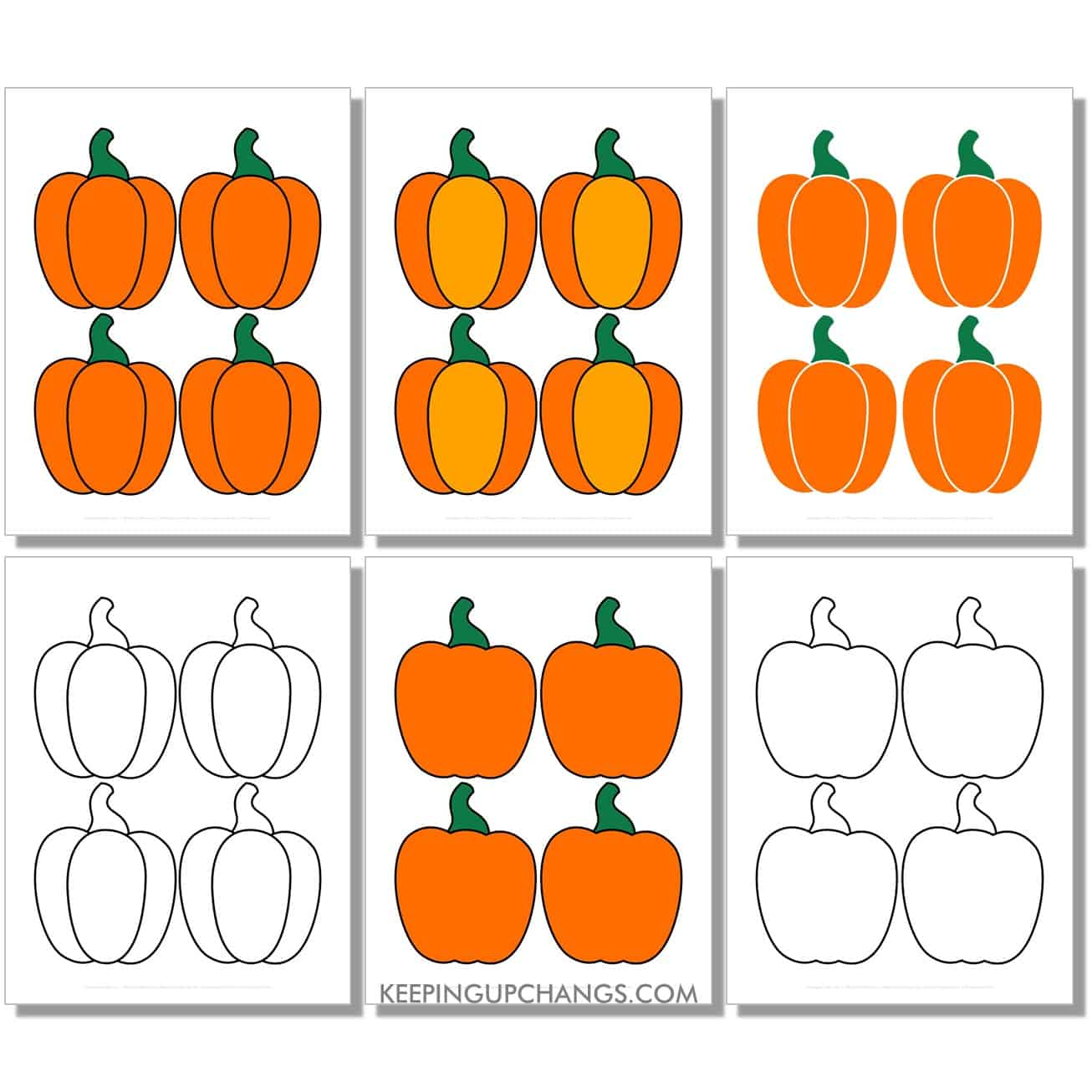 free small pumpkin in color, black and white, silhouette, 4 to a page.