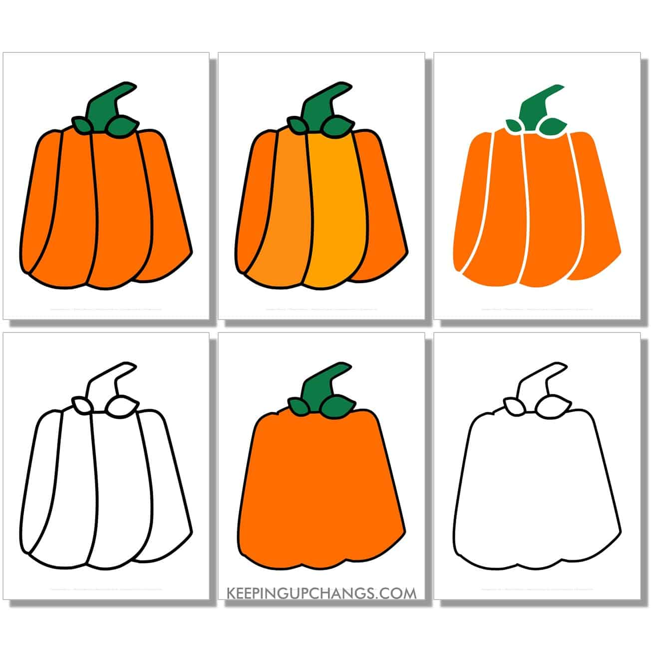 free large boxy, square, rectangle pumpkin in color, black and white, silhouette, full size page.