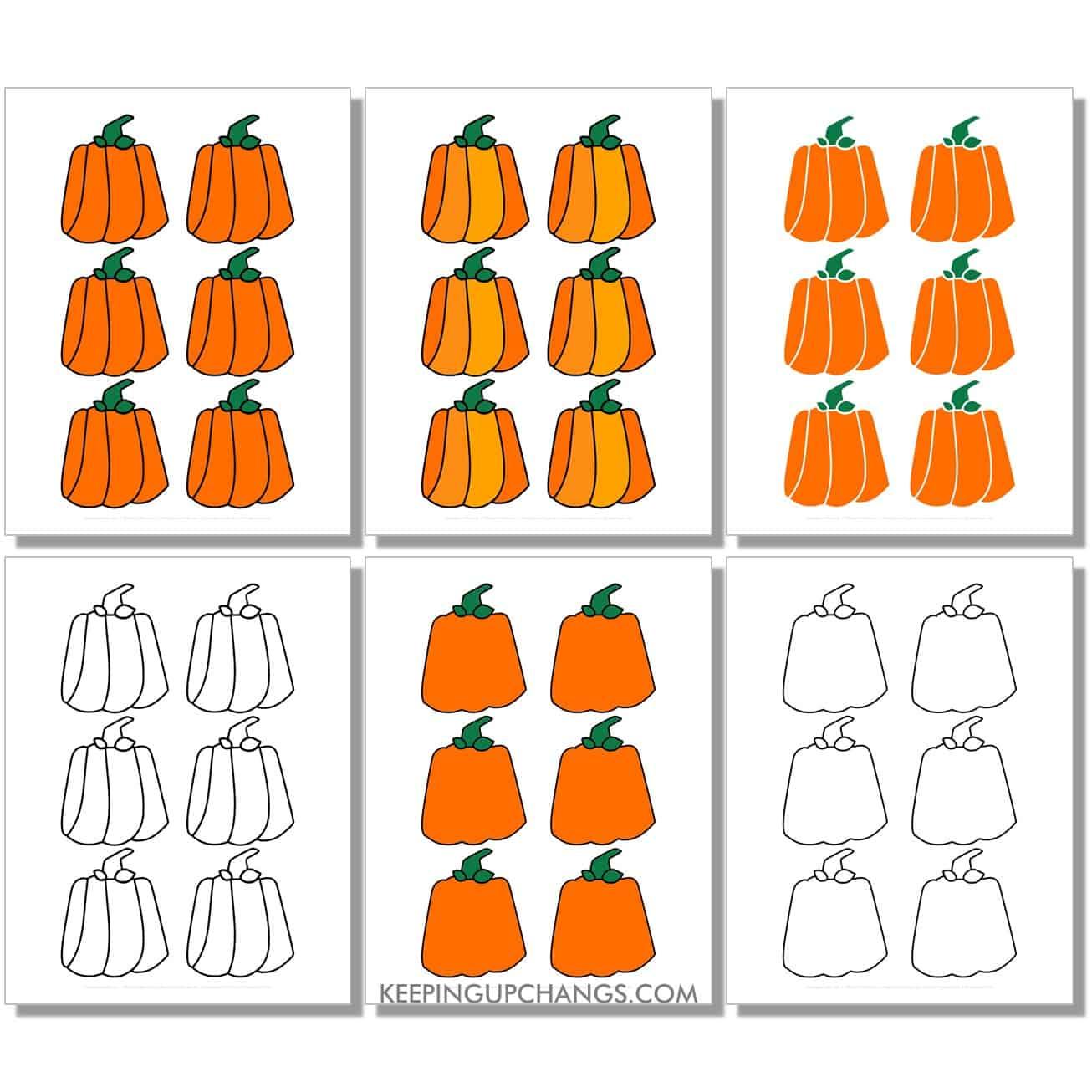 free mini box, square, rectangle pumpkin in color, black and white, silhouette, 6 to a page.