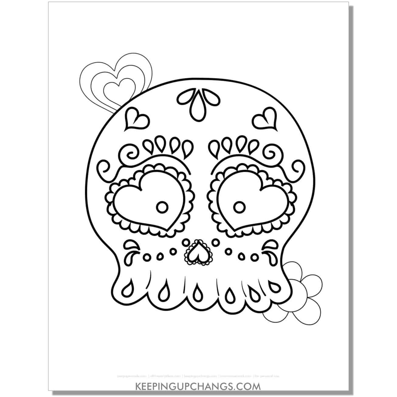 free beginner sugar skull for kids coloring page.