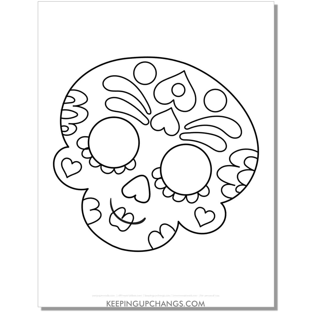 free sugar skull female girl halloween coloring page for kids.