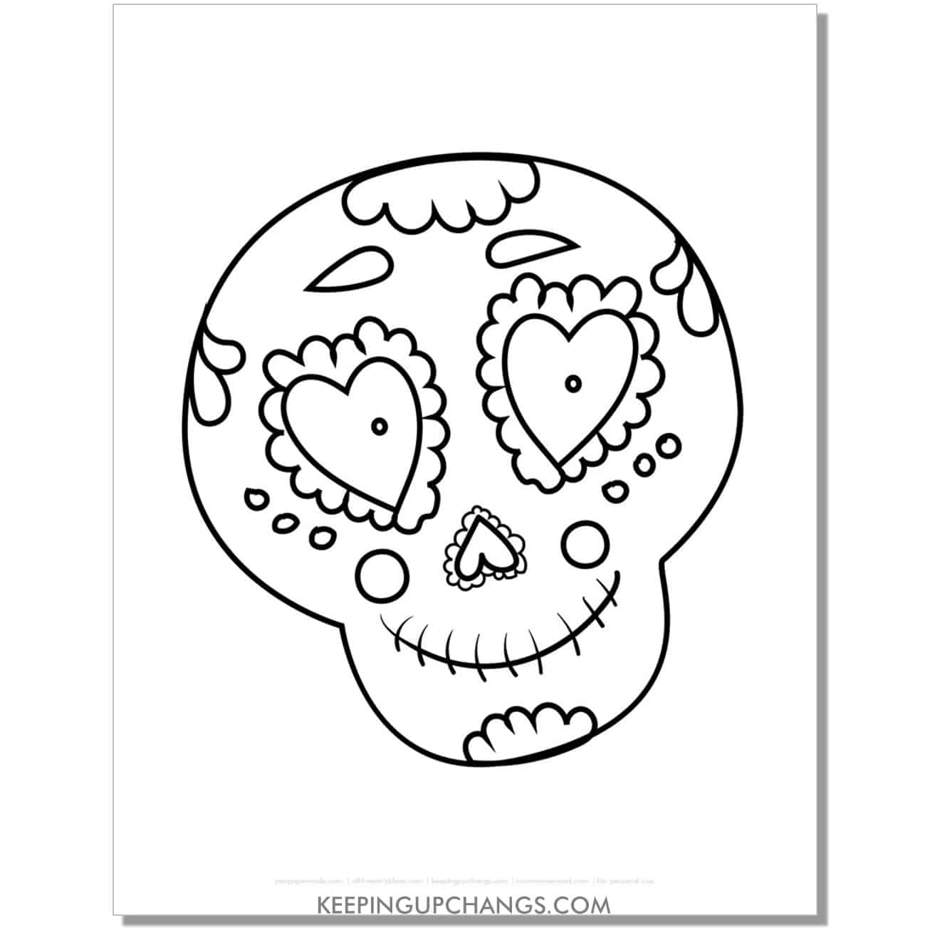 free sugar skull male man halloween coloring page for kids.