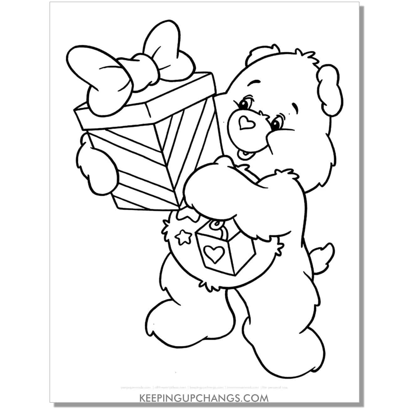 surprise care bear coloring page holding gift.