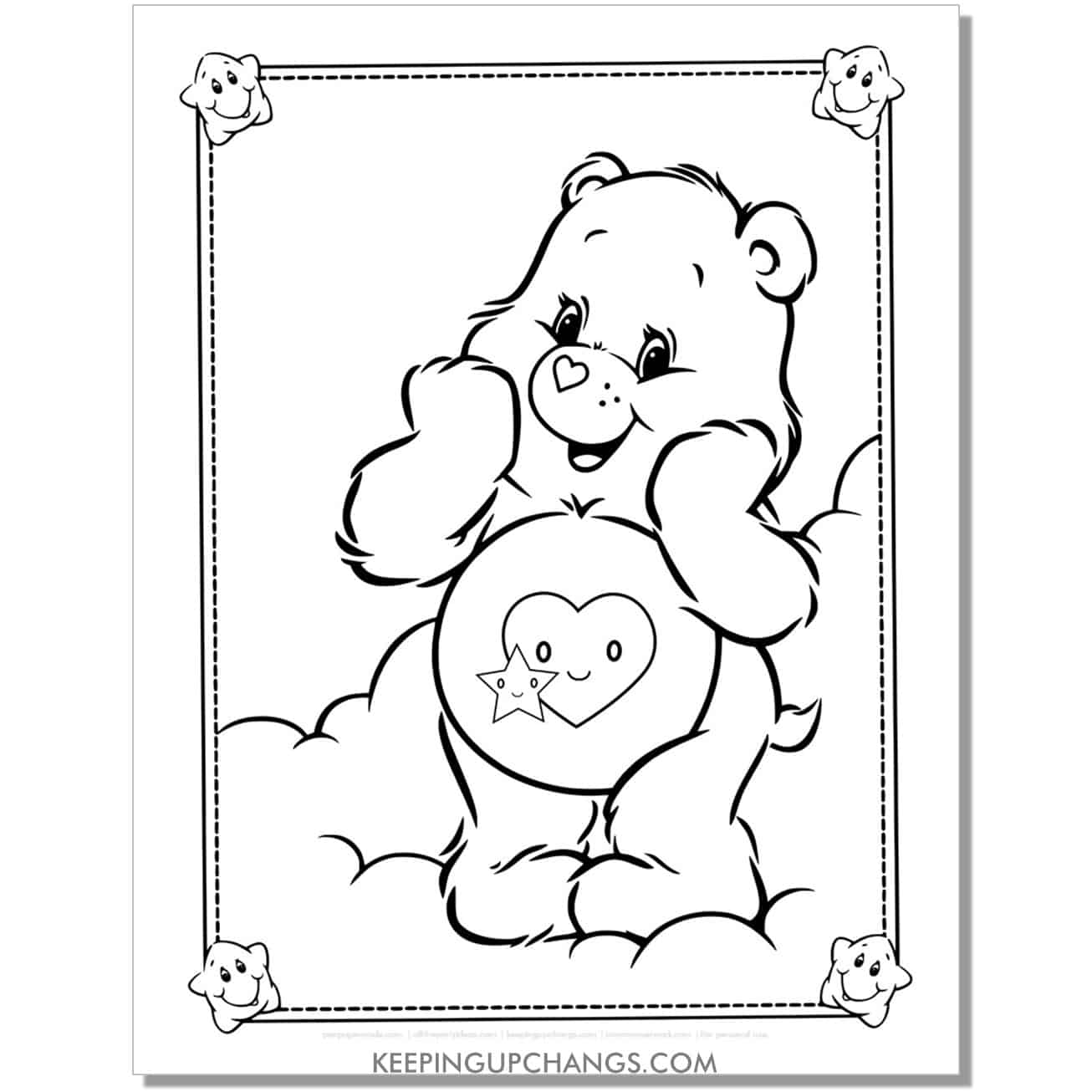 take care bear standing on cloud coloring page.