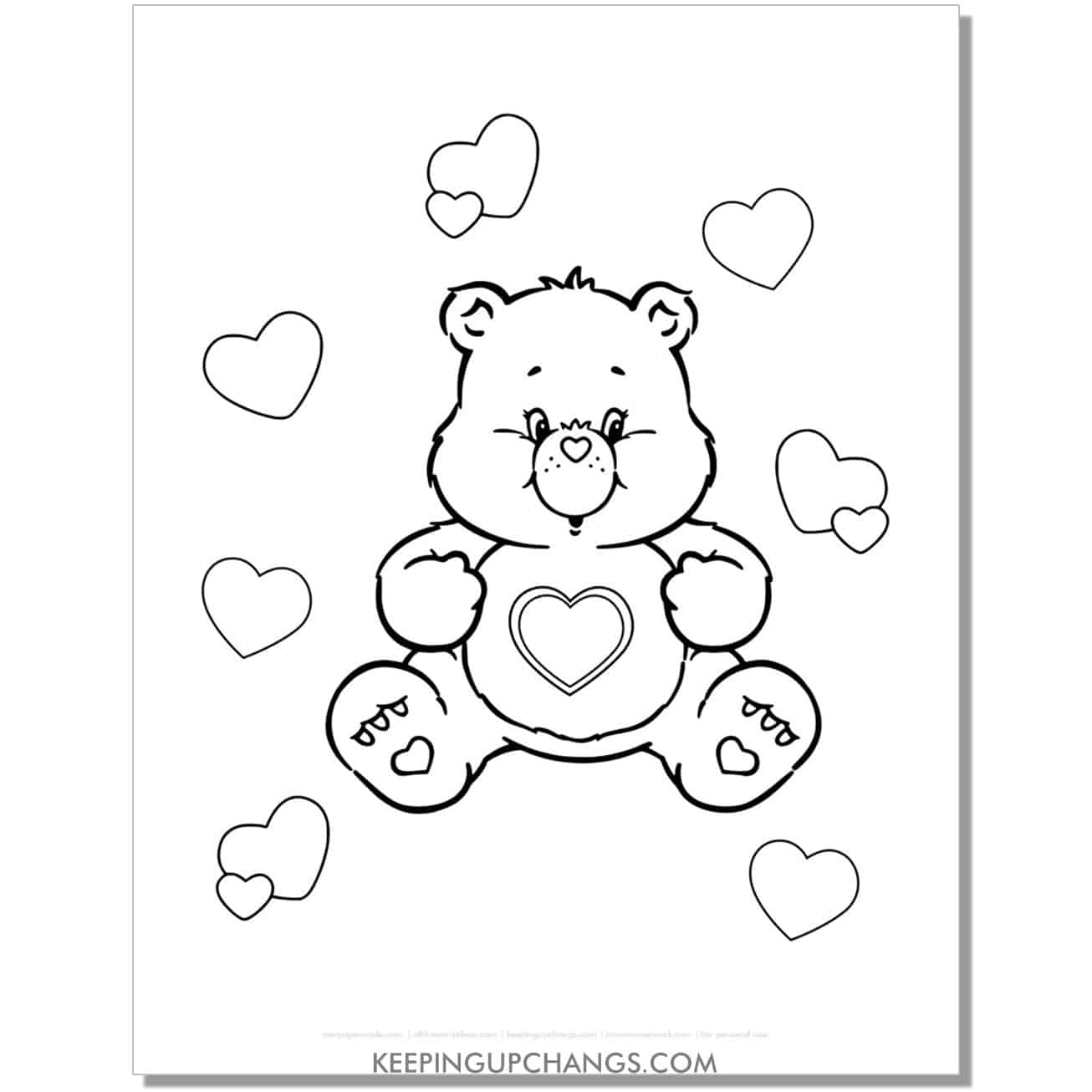 tenderheart wonderheart surrounded by hearts care bear coloring page.