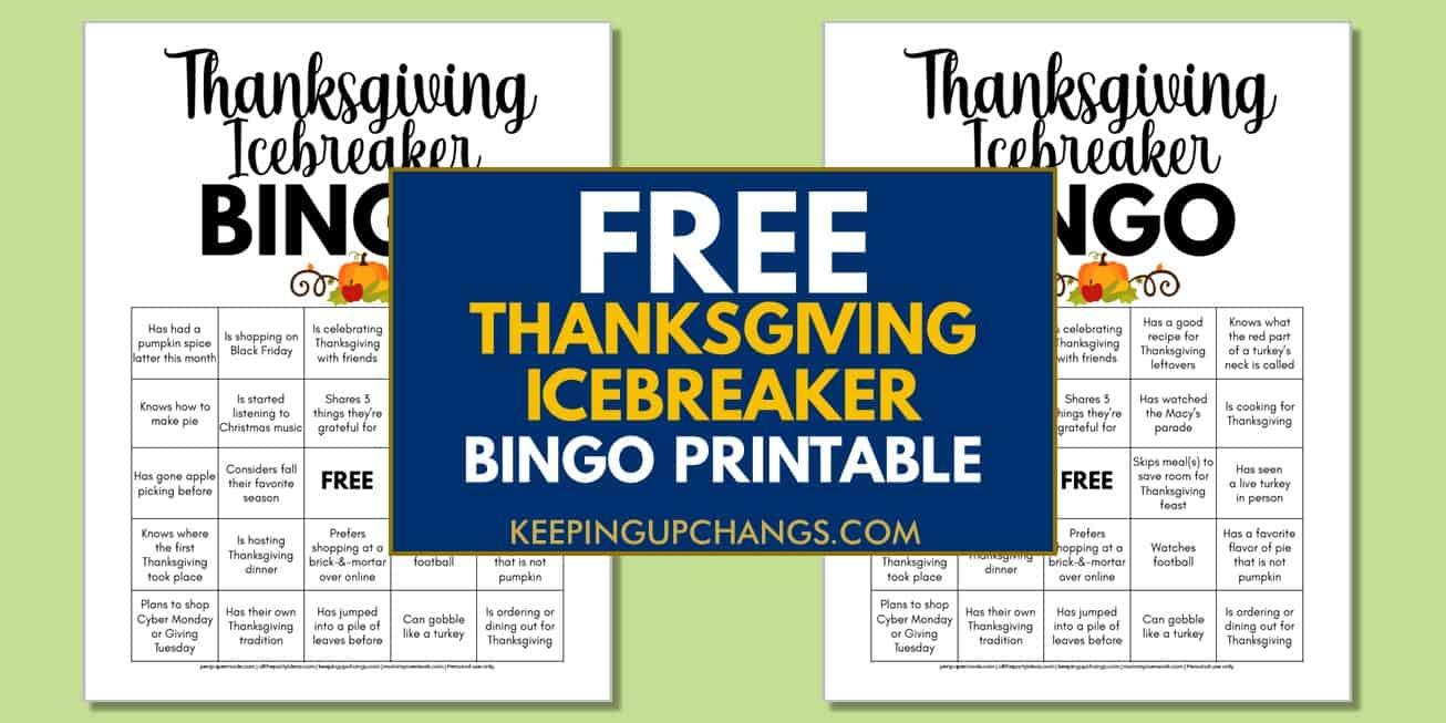 free thanksgiving human icebreaker bingo for adult office parties, coworkers, etc.