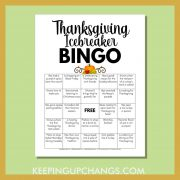 human fall thanksgiving icebreaker bingo with fun getting to know you facts about the family holiday.
