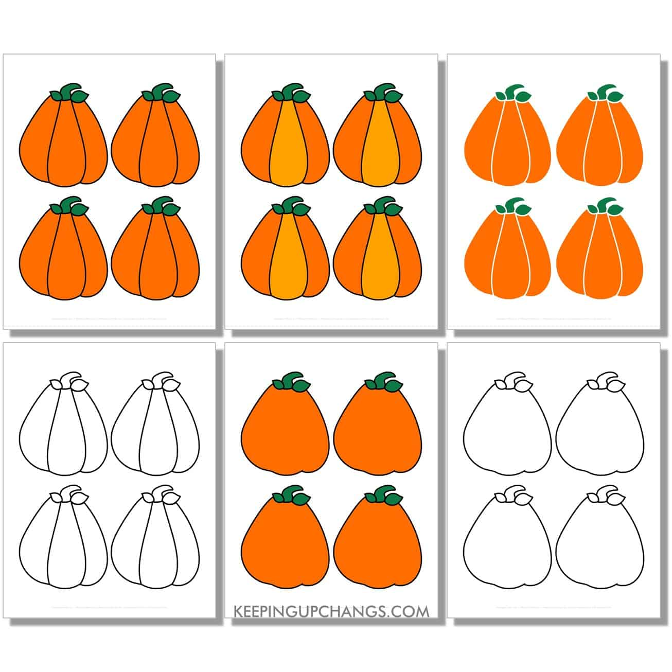 free small triangle pumpkin in color, black and white, silhouette, 4 to a page.