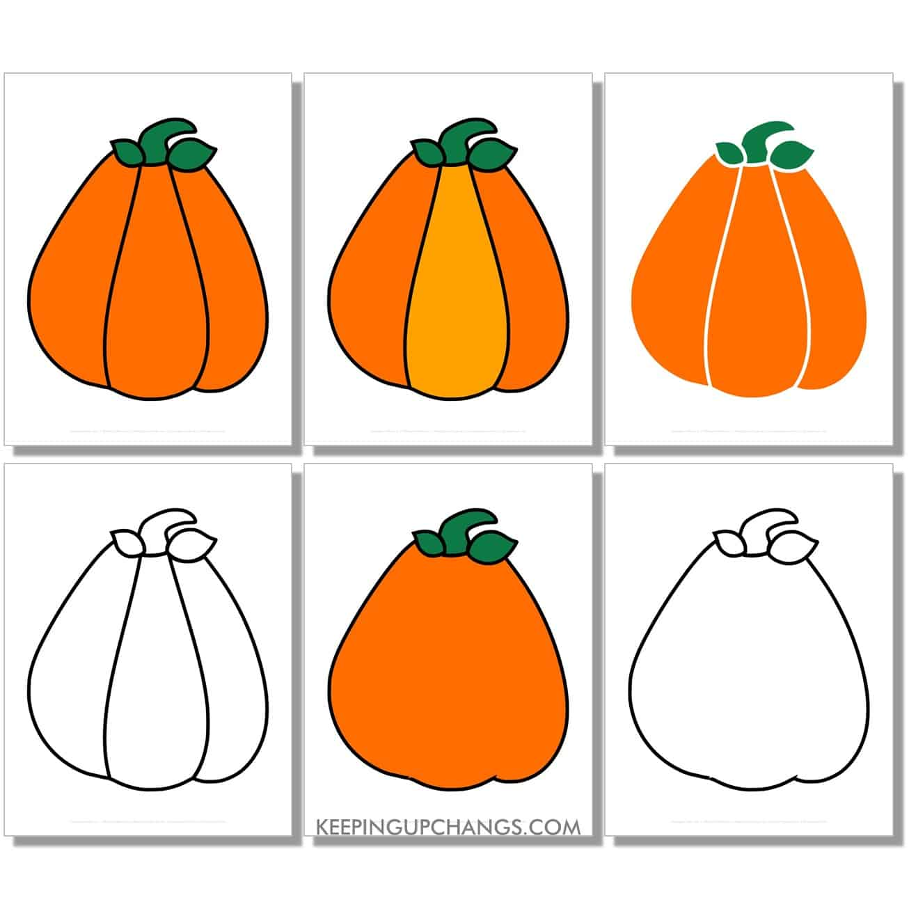 free large triangle pumpkin in color, black and white, silhouette, full size page.
