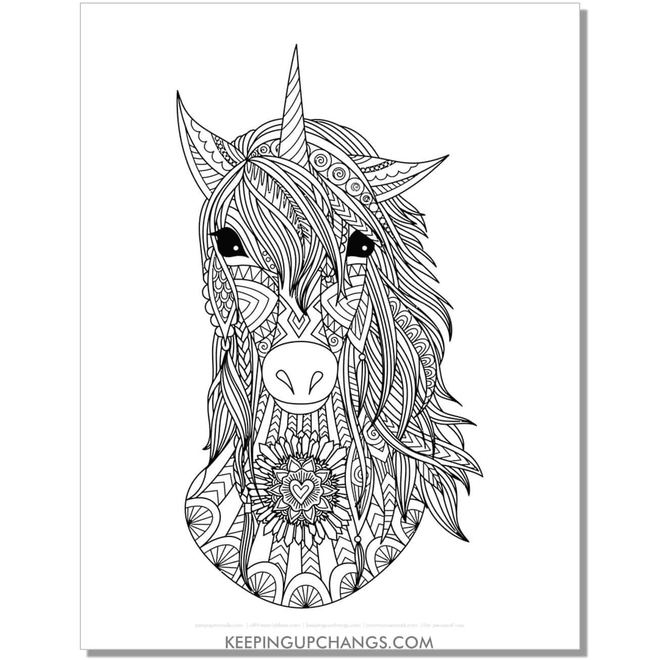 boho unicorn head with realistic horse eyes zentangle coloring page.