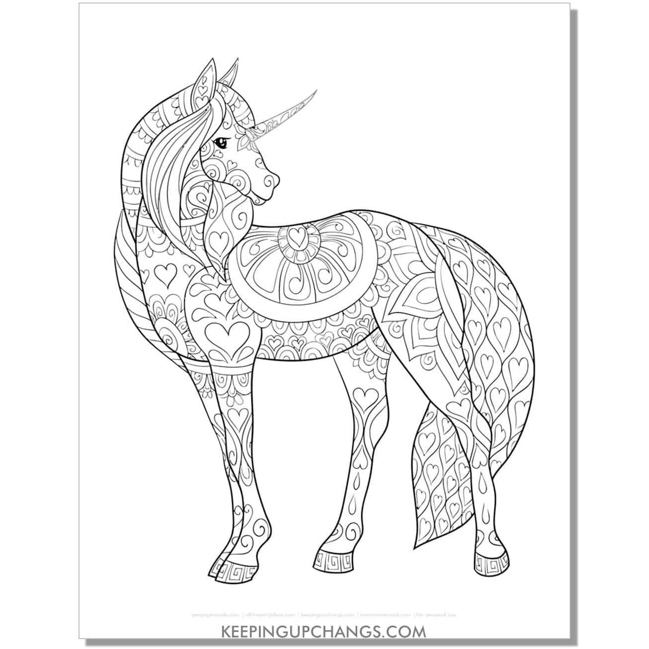 full body unicorn zentangle coloring page.