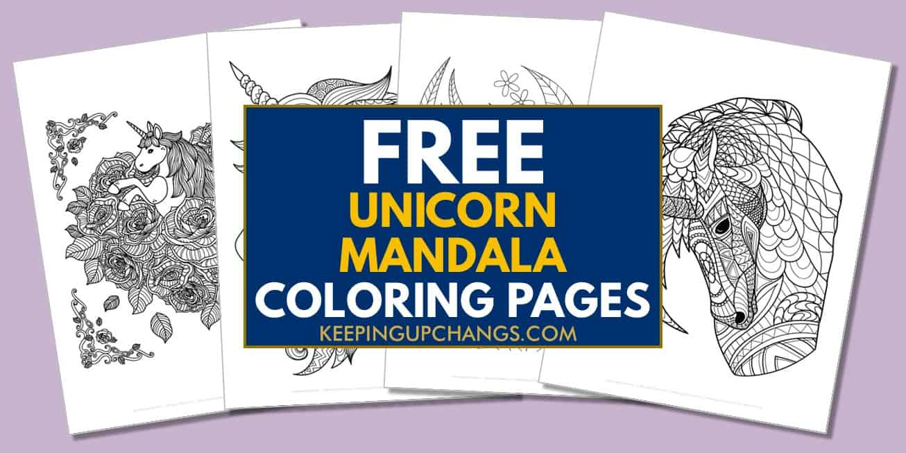 spread of free unicorn mandala coloring pages.