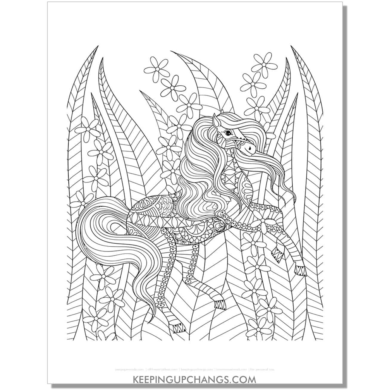 unicorn in tall grass zentangle coloring page.