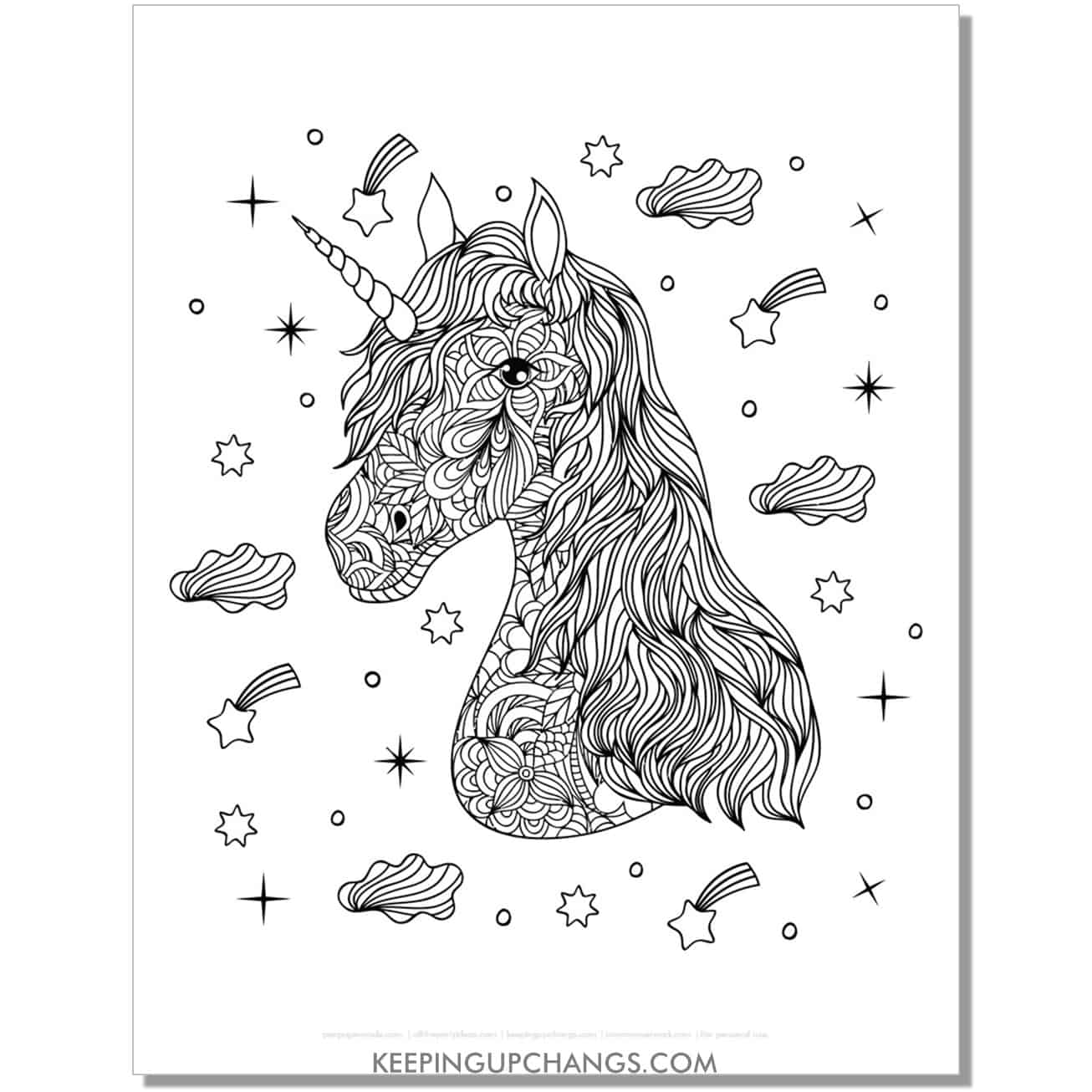 unicorn zentangle with stars and clouds coloring page.