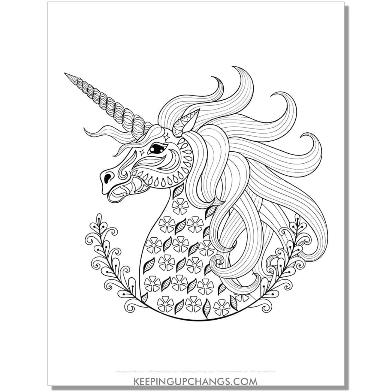 gothic unicorn zentangle with half wreath coloring page.