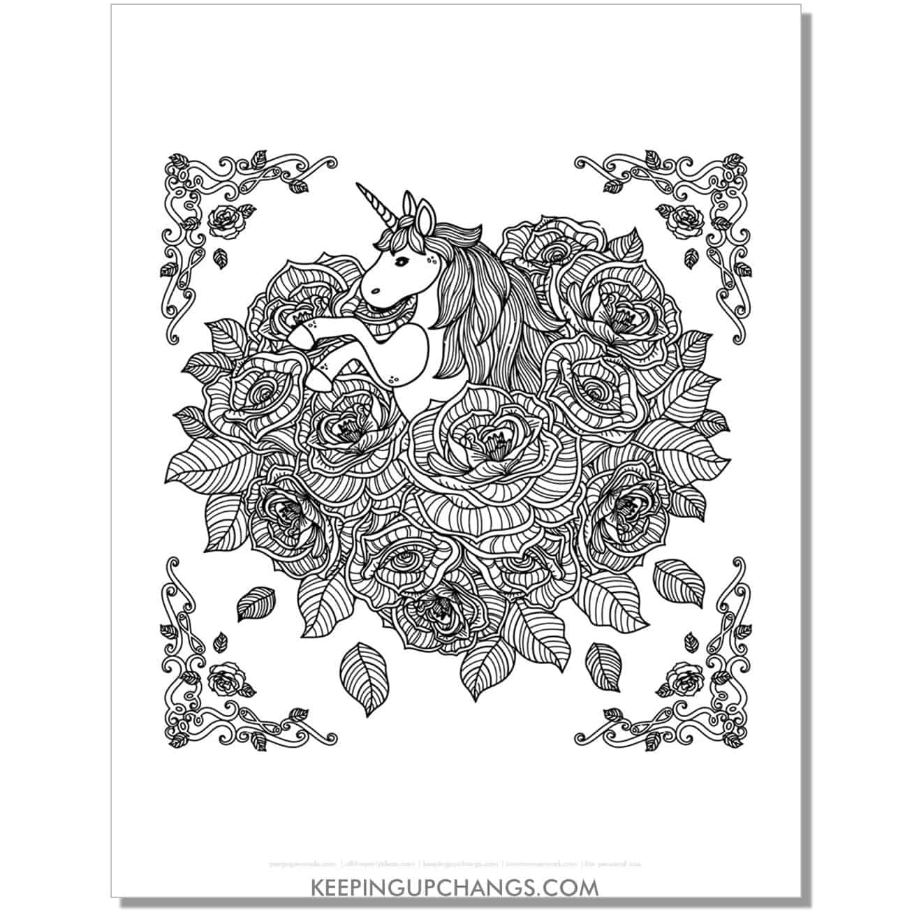 unicorn roses in shape of heart coloring page.