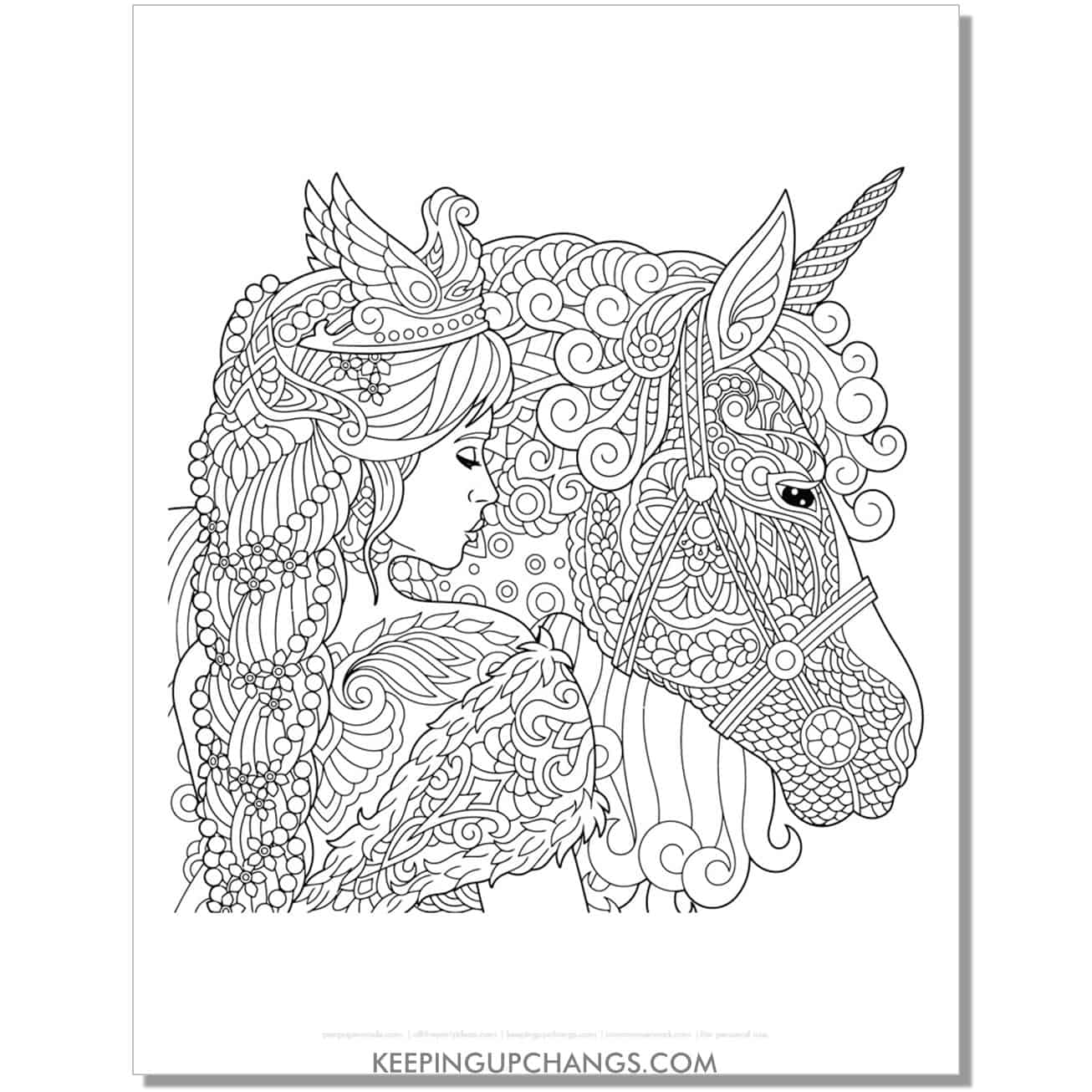 unicorn and princess zentangle coloring page.