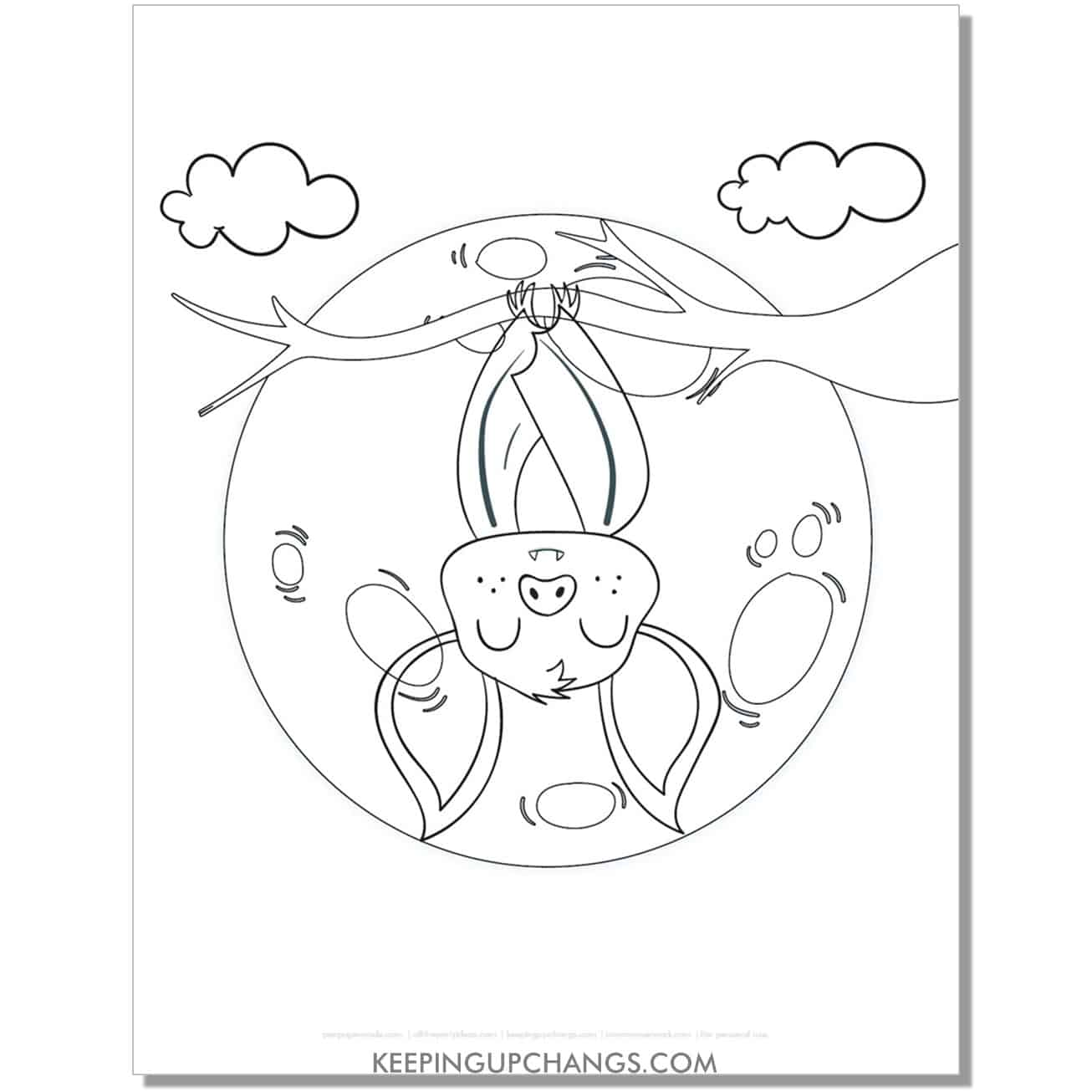 free upside down halloween bat coloring page.