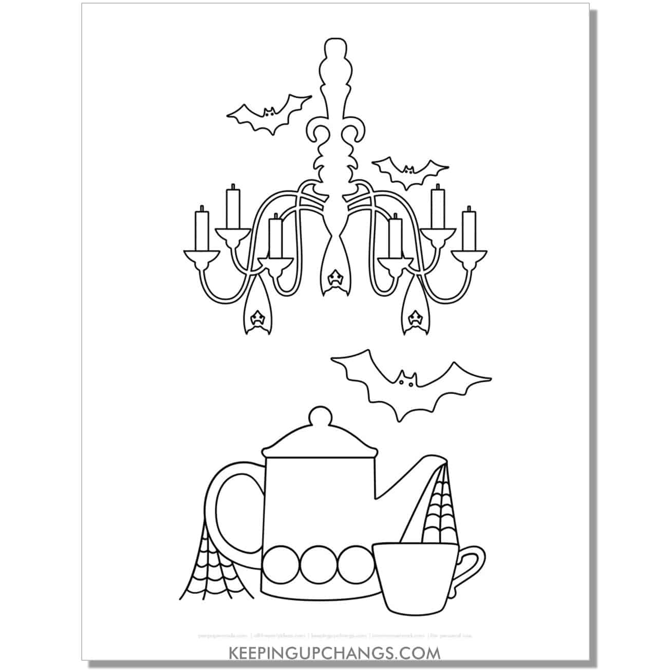 free haunted house inside chandelier and tea set coloring page.