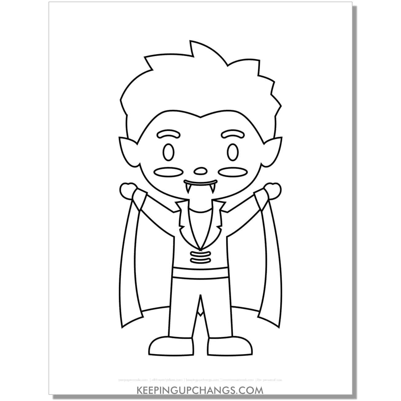 free anime vampire boy coloring page.