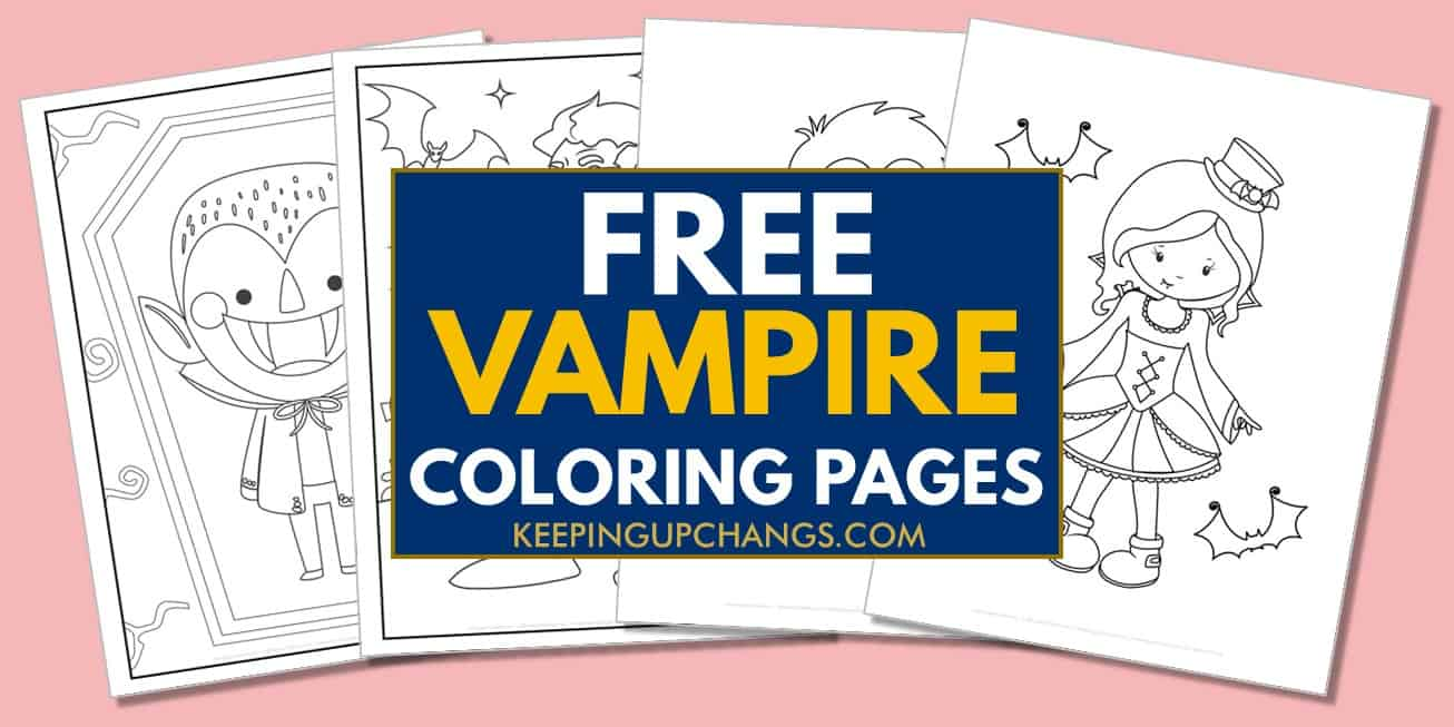 spread of free vampire coloring pages.