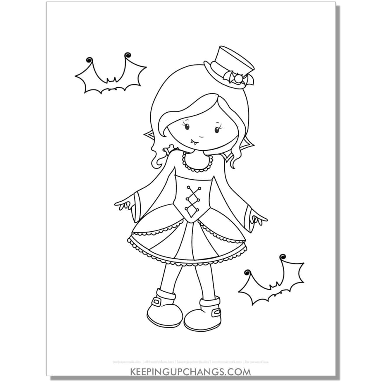 free vampire girl in dress coloring page.
