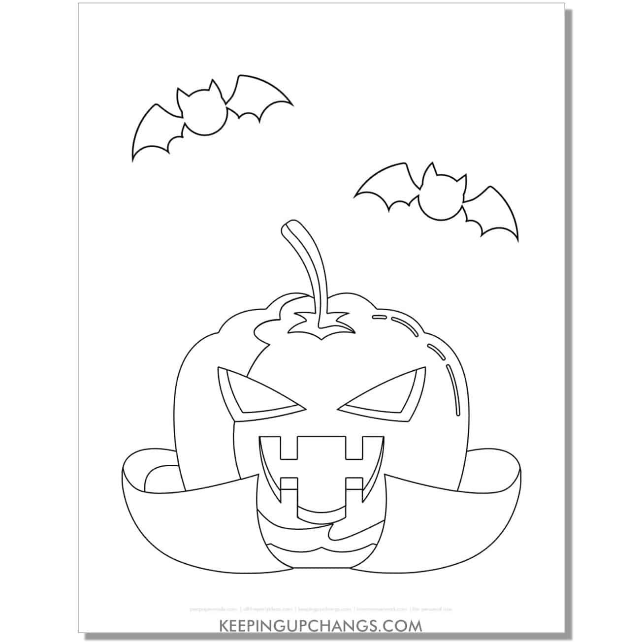 free dracula vampire jack o lantern with bats coloring page.