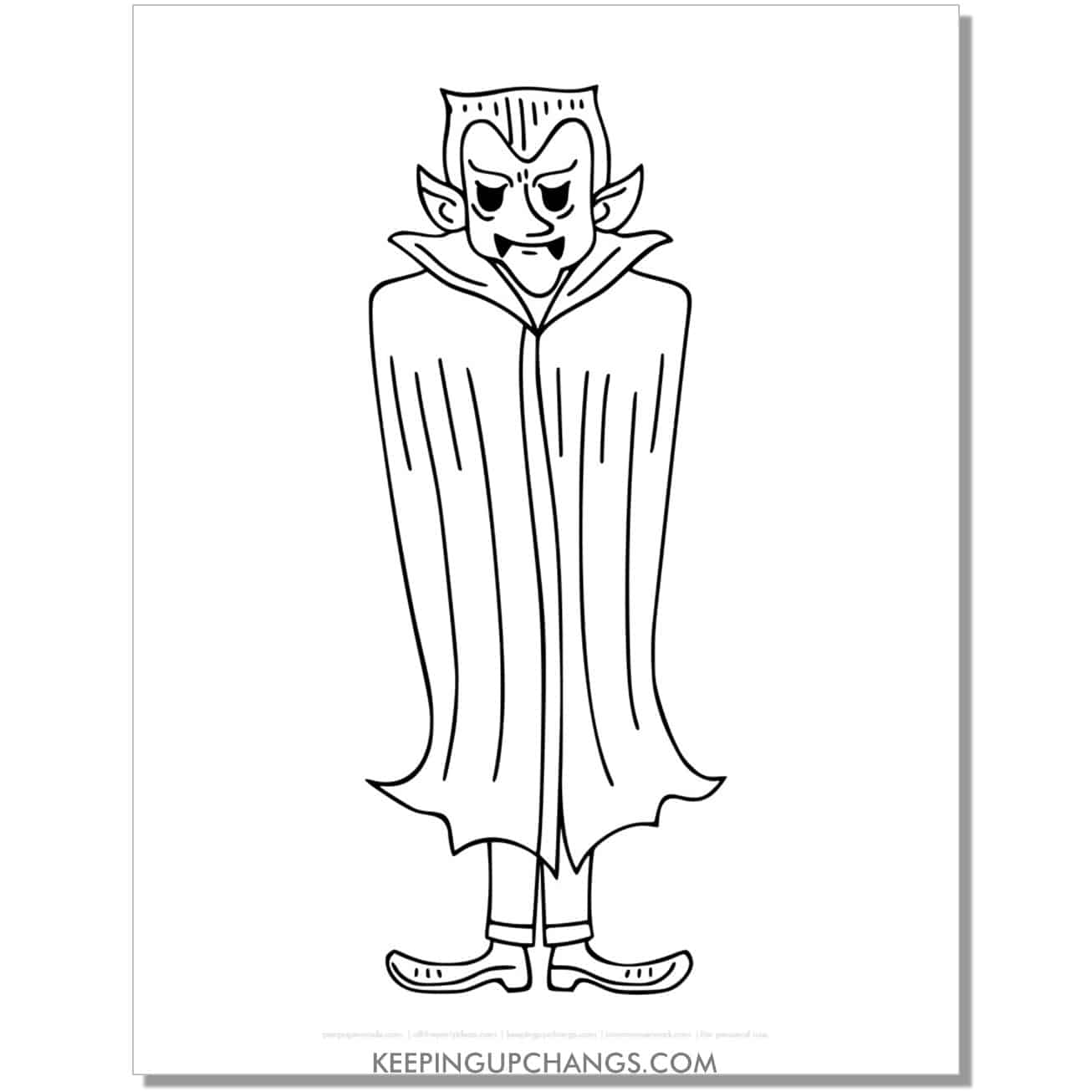 free scary count dracula vampire coloring page.