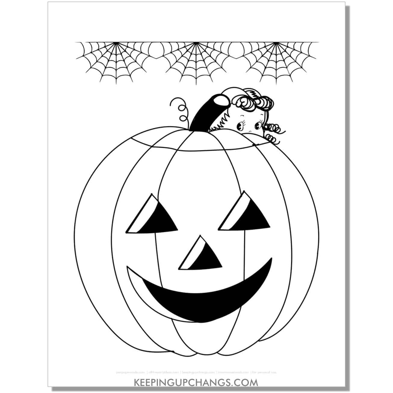 free vintage happy pumpkin jack o lantern with girl and spiderwebscoloring page for fall, thanksgiving.