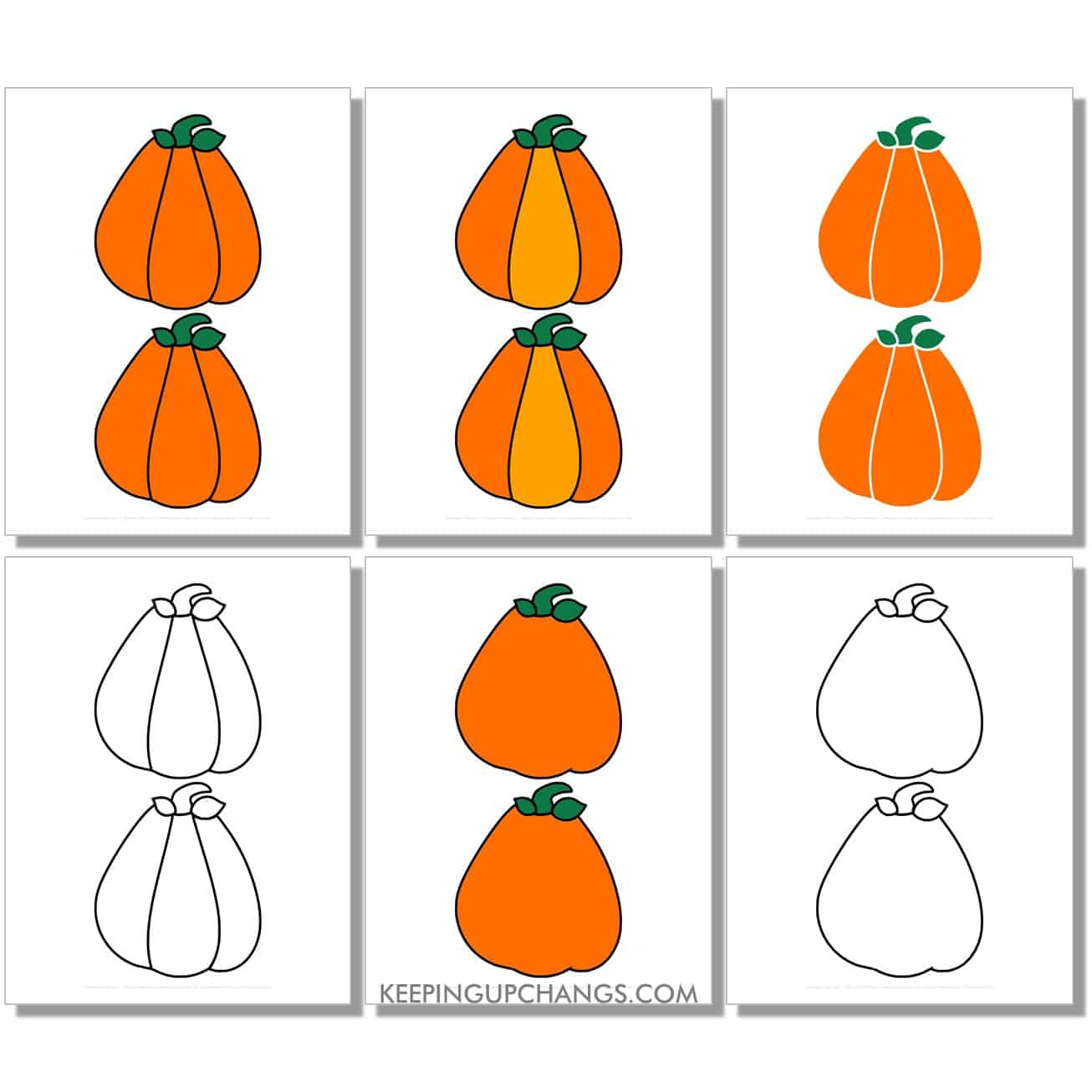 free medium triangle pumpkin in color, black and white, silhouette, 2 to a page.
