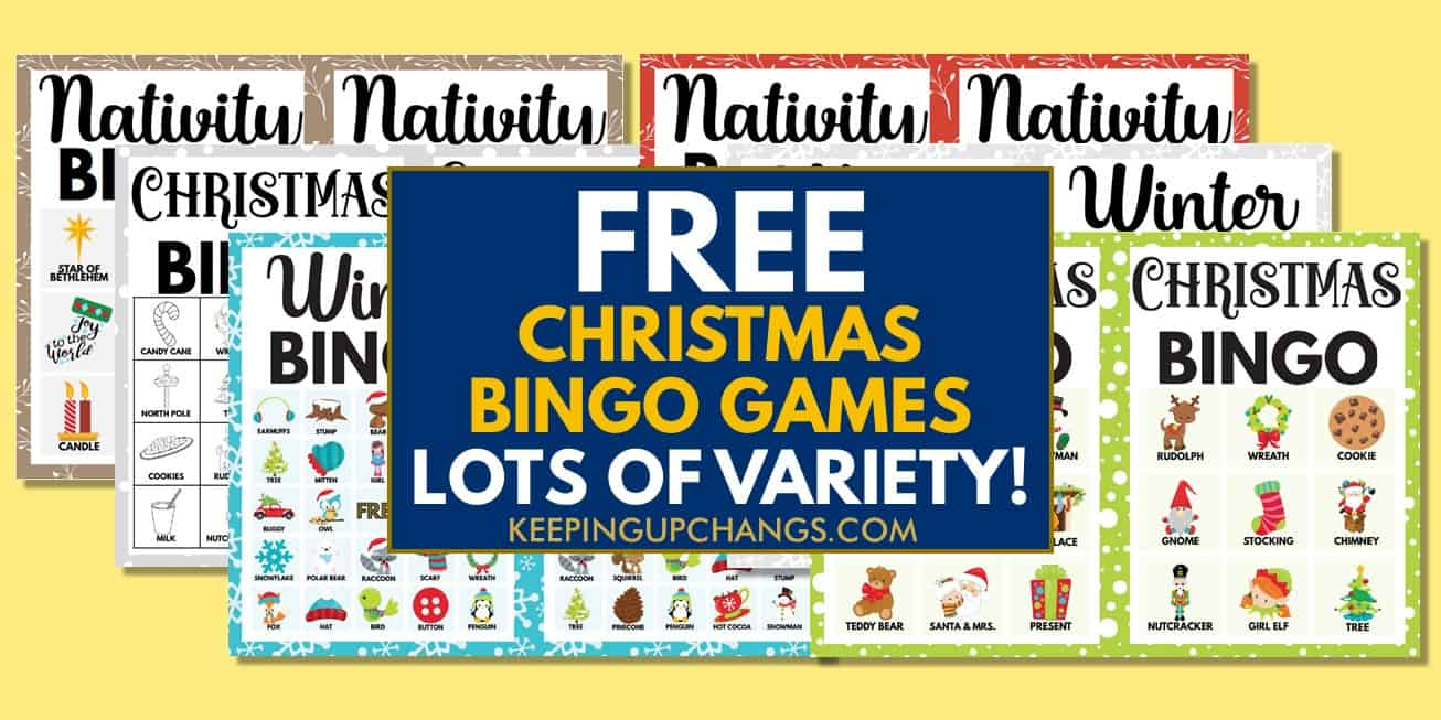best free christmas bingo games with images and text, for coloring, icebreaker, lights, movie, music and more.