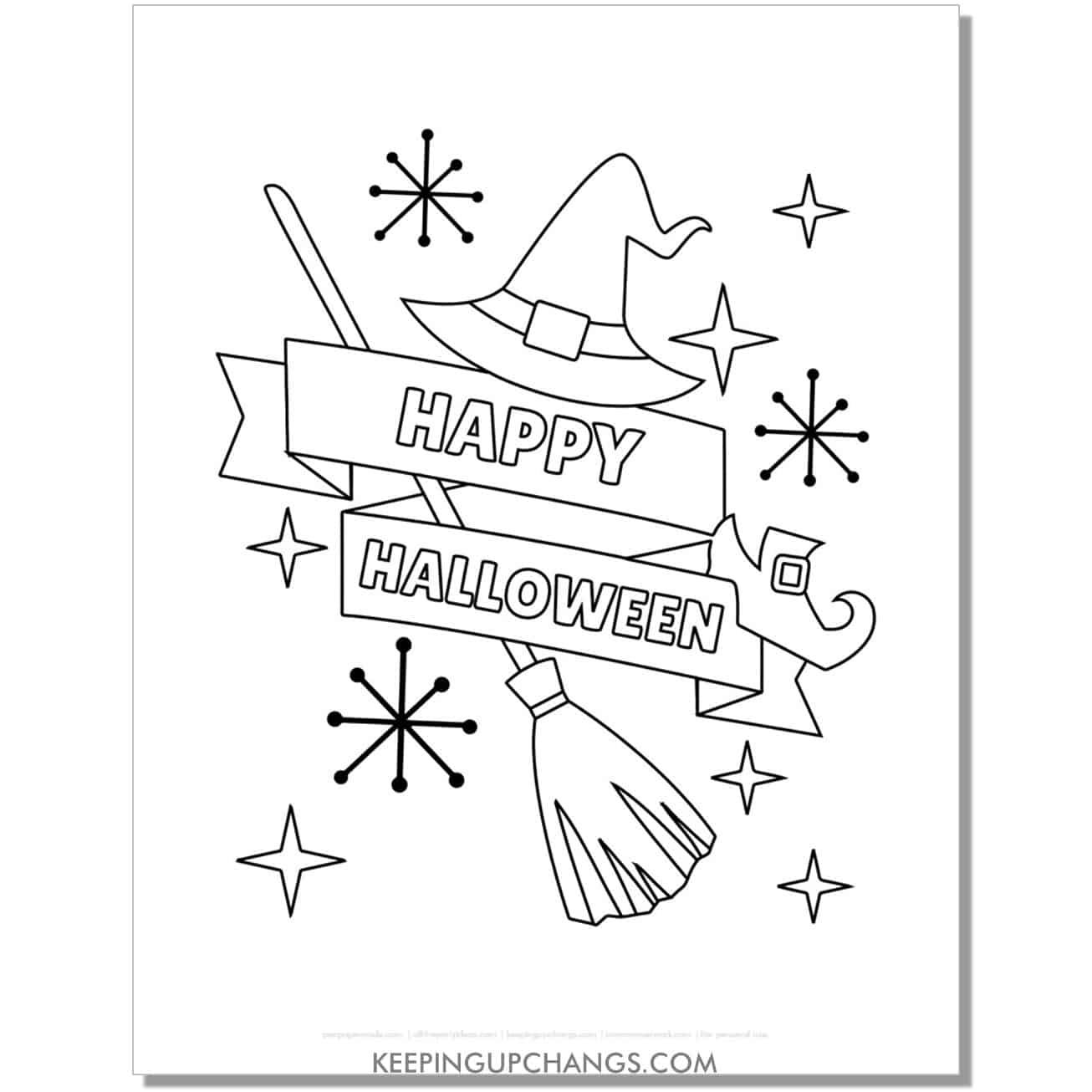 free happy halloween witch hat, broomstick, shoe coloring page.