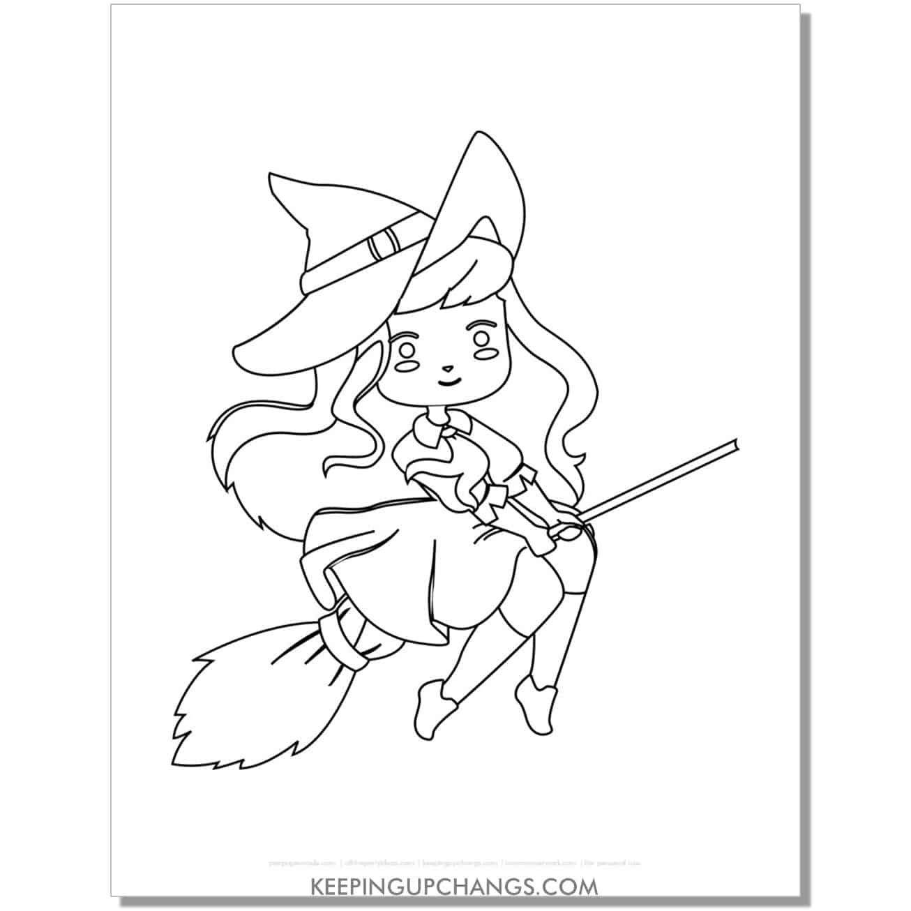 free anime witch flying on broomstick coloring page.