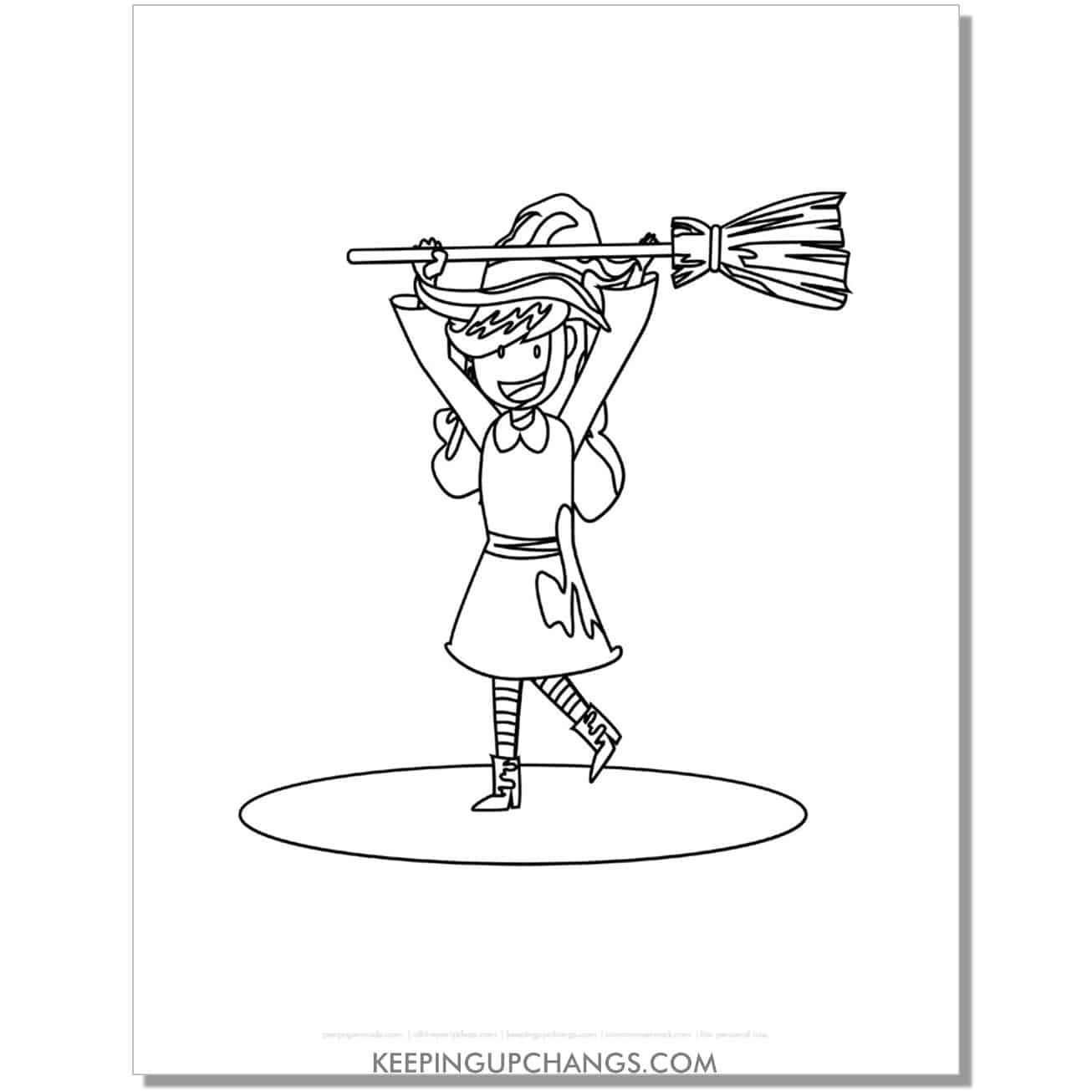 free cute witch holding broomstick overhead coloring page.