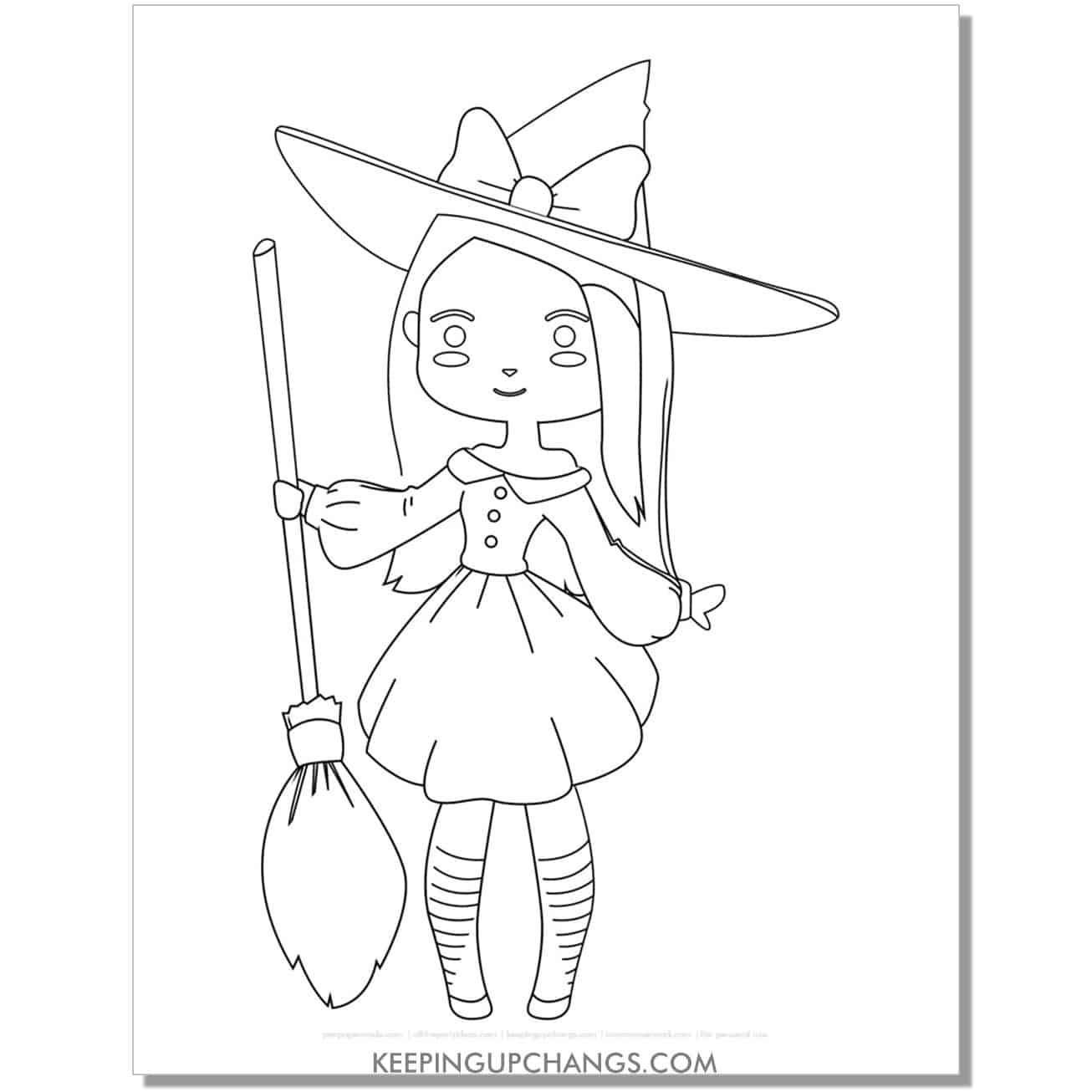 free anime witch holding broomstick coloring page.