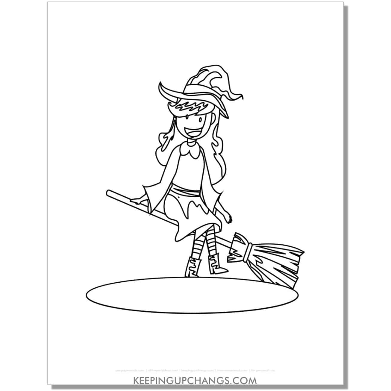 free cute witch sitting on broomstick coloring page.