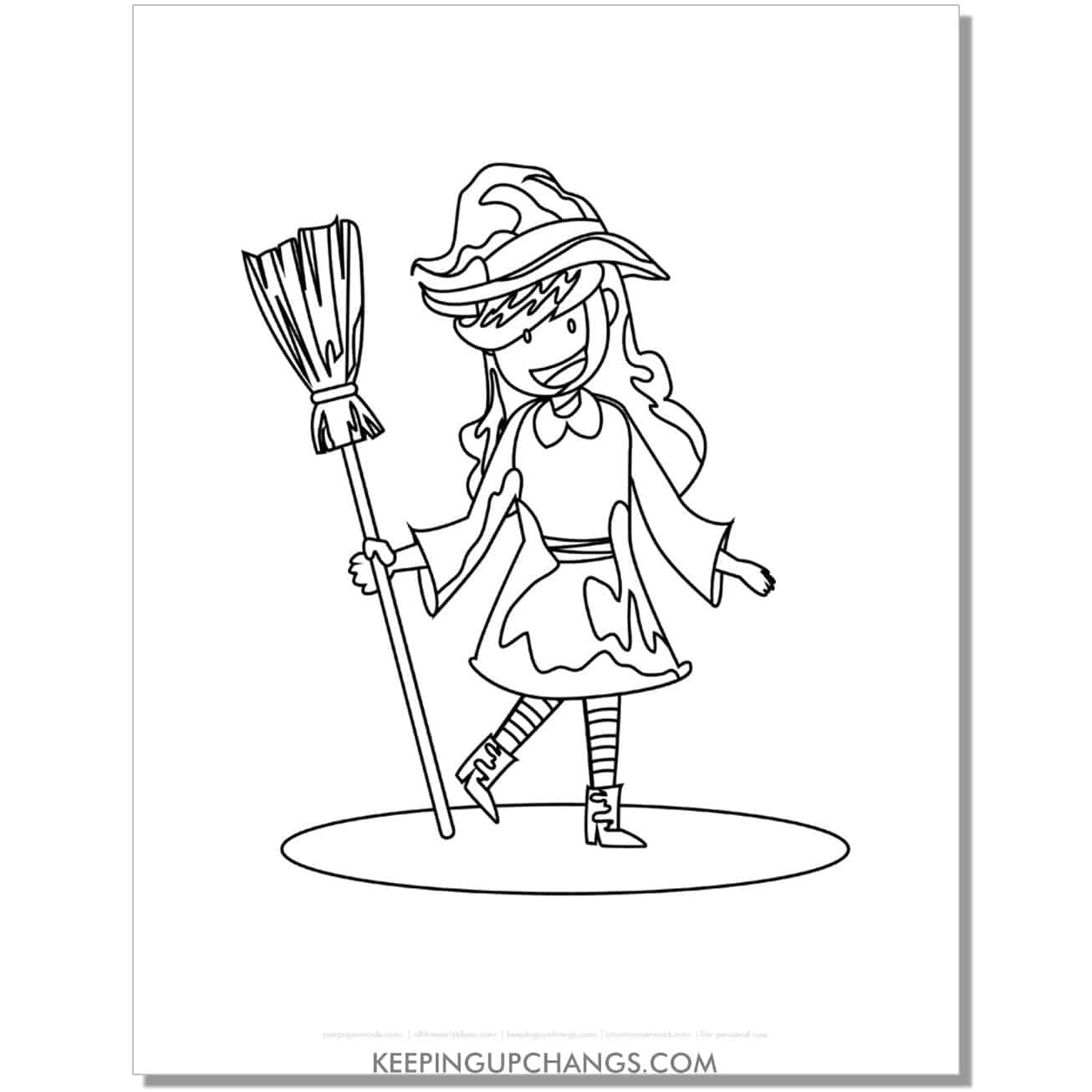 free cute witch holding broomstick at angle coloring page.